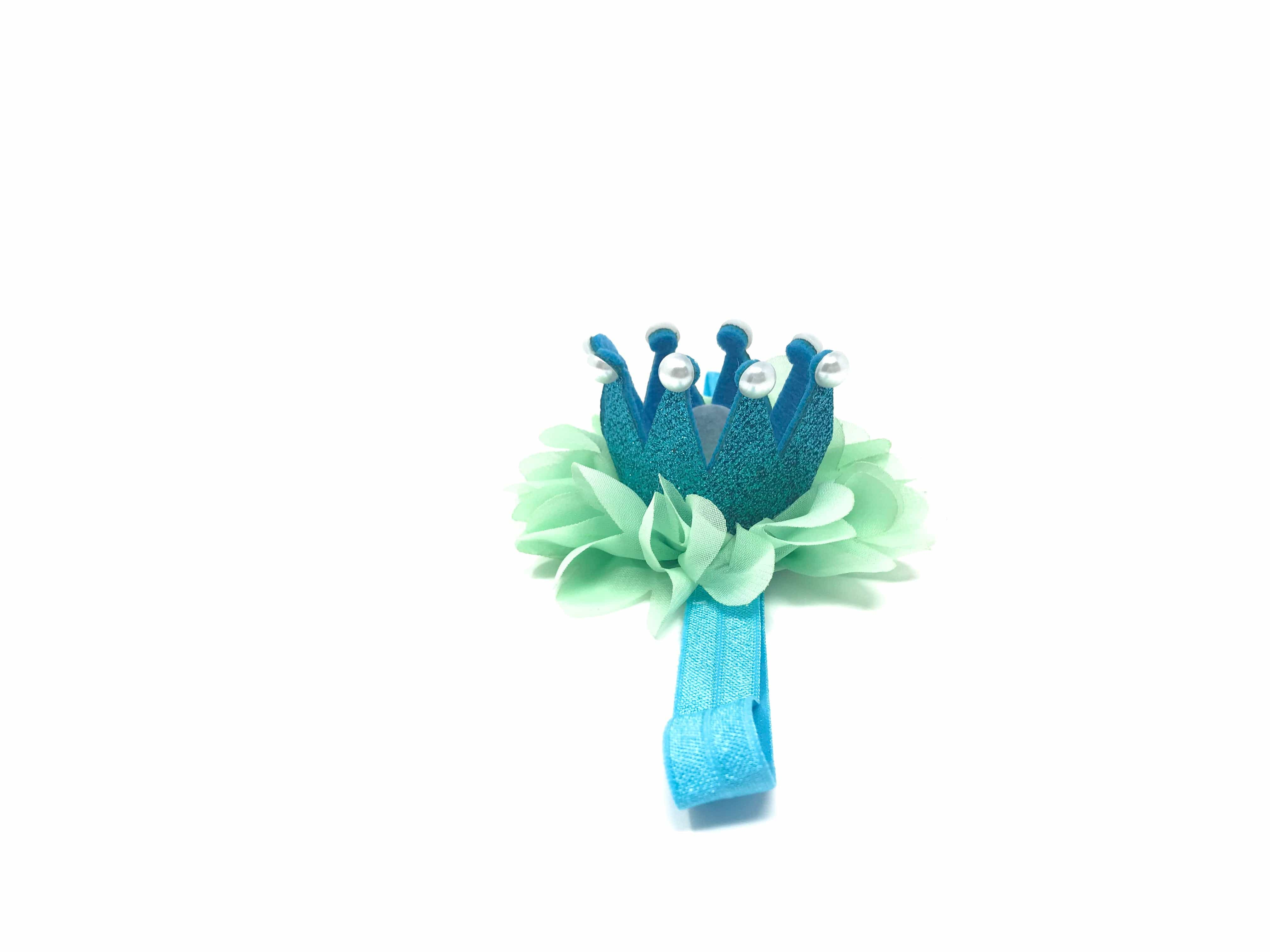 frog prince crown headband; blue green pearls crown headband tutu joli with tutu skirt for babies