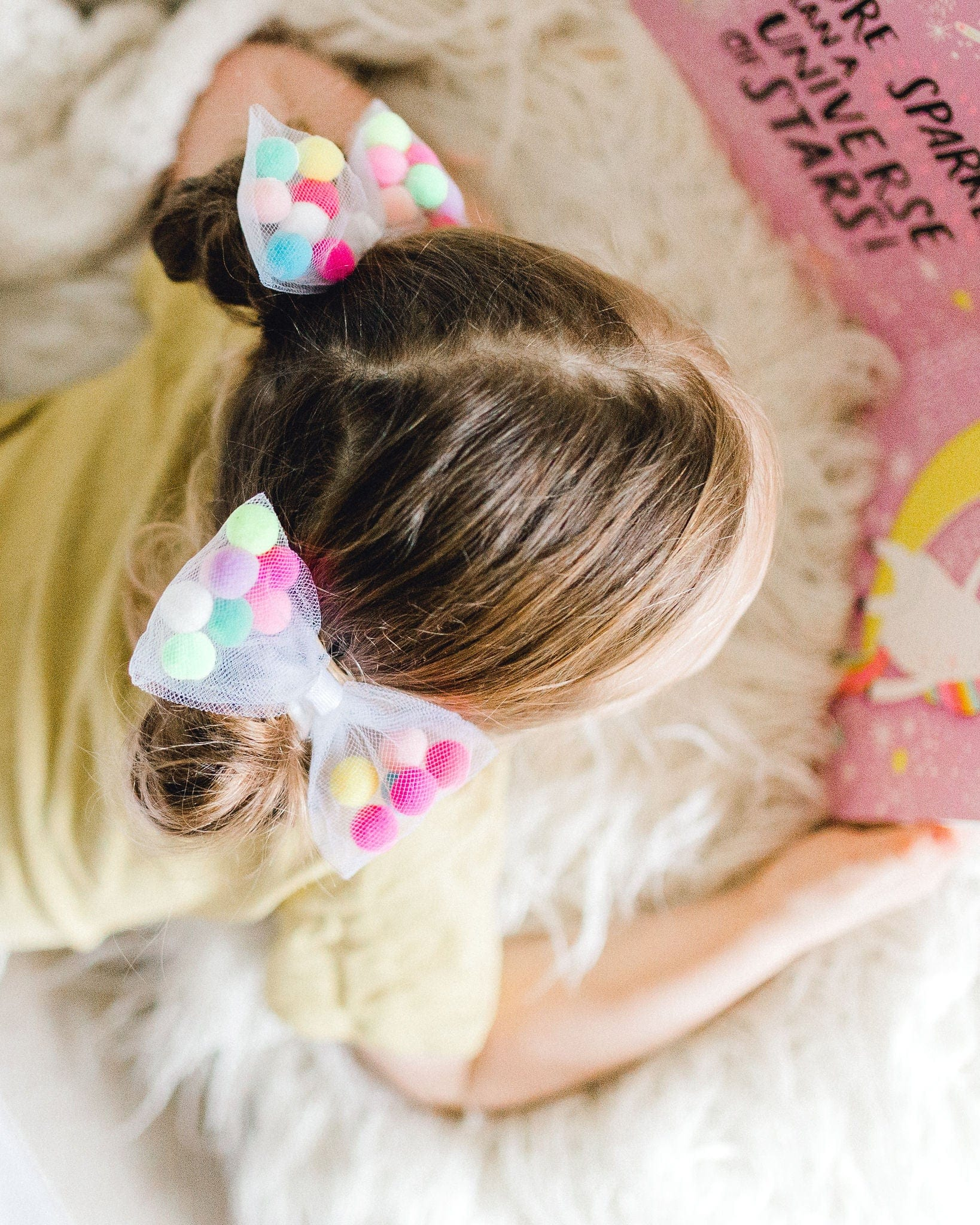 tutu joli hair accessories, pom pom hair ties for kids, ballerina hair ties, pompom hair tie, bow ponytail holder, children hair accessories, white pom pom bow hair tie, white hair ties for kids, white ponytail holders, pig tail holders for girls,