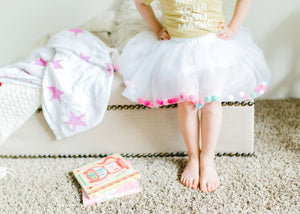 tutu joli = pom pom tutu skirt in white for kids