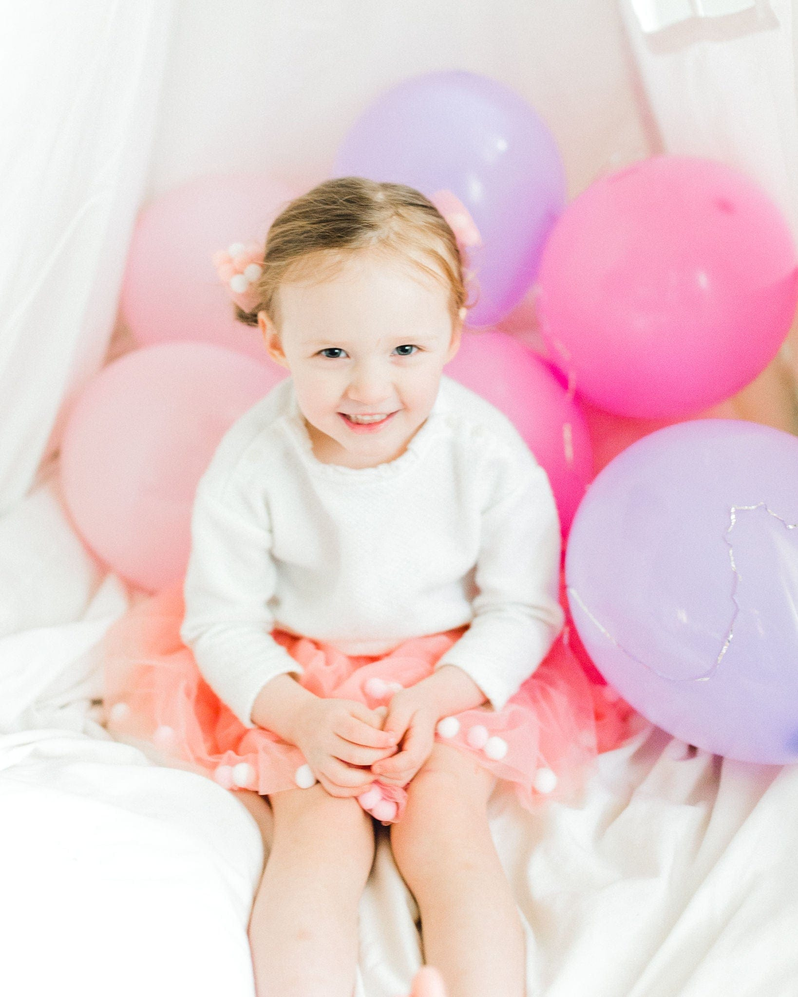 dusty rose tutu, tutu joli light pink tutu with poms, pompom tootoo, birthday balloons tutu