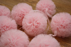 fluffed pom pom balls, large pom pom balls, pom pom pouf, tulle pouf, pompom balls for decorations, birthday pom pom accessory, birthday party pom poms, white pom poms, pink pom poms, medium size pom poms, wedding pom poms, large fluffed poms, pompoms, tutu joli, small pom poms,