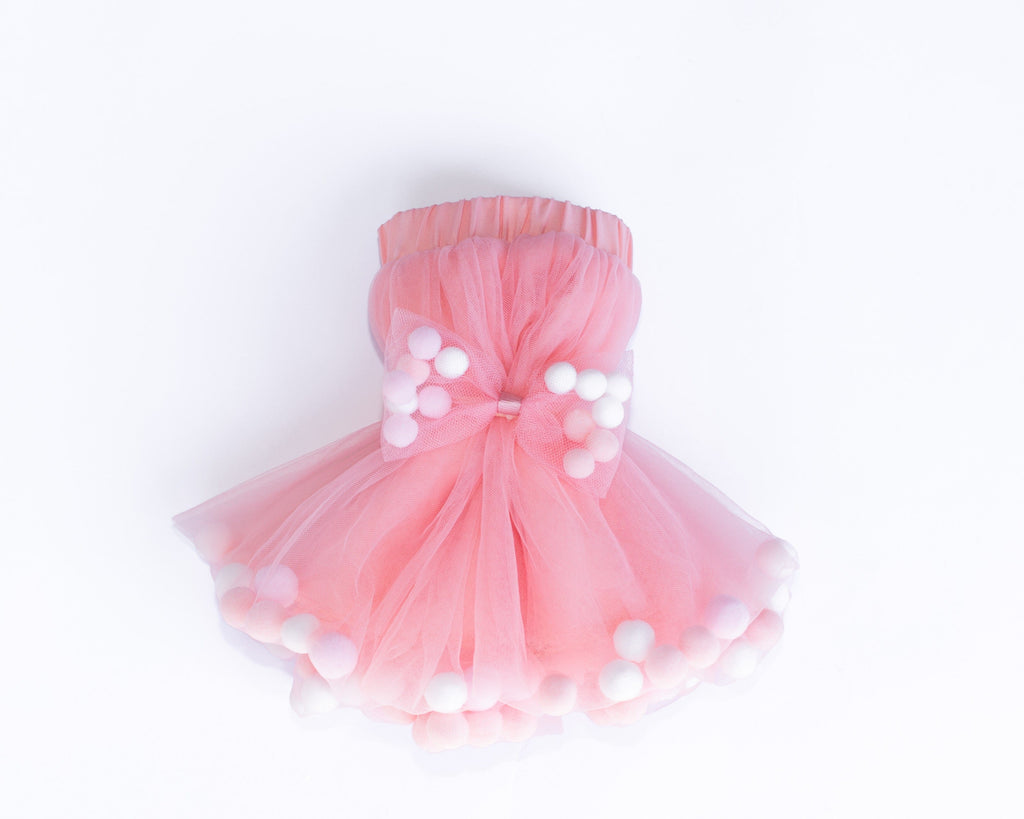 Dusty Rose Pink Tutu Skirt With Multicolor Pom Pom Balls and Bow Hair Tie-2Pcs Set