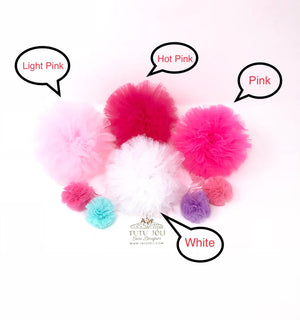 fluffed pom pom balls, large pom pom balls, pom pom pouf, tulle pouf, pompom balls for decorations, birthday pom pom accessory, birthday party pom poms, white pom poms, pink pom poms, medium size pom poms, wedding pom poms, large fluffed poms, pompoms, tutu joli pom poms