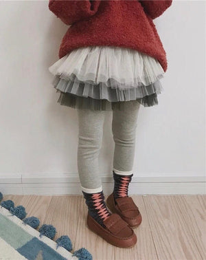 gray leggings for kids with tutu by tutu joli