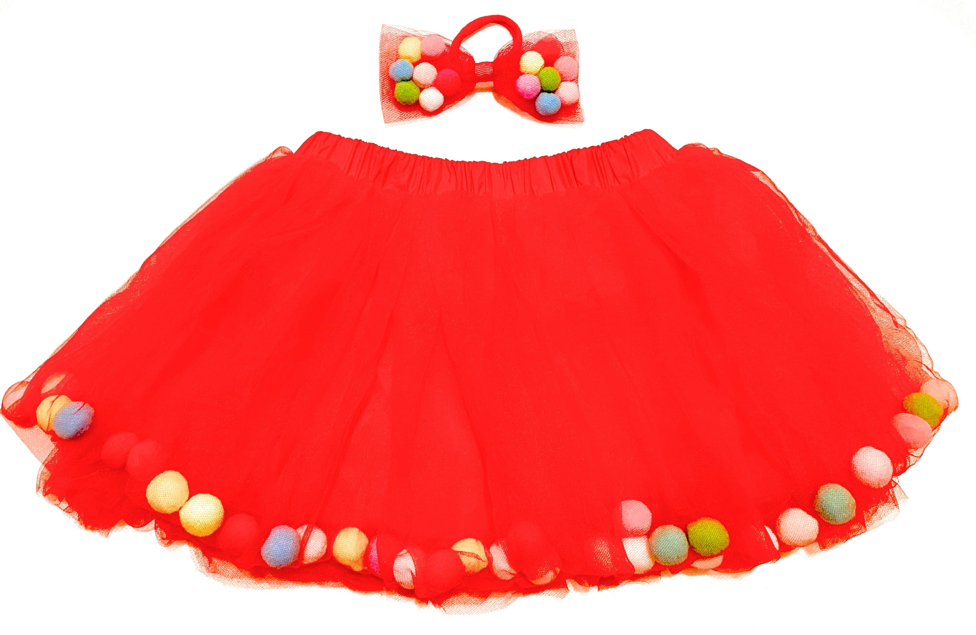 Kids Pom Pom Tutu and Bow Hair Tie | 2Pcs Set
