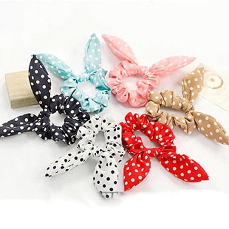 Bunny ear hair ties, dotted hair accessories, woman's hair ties, kids hair ties, children accessories, hair accessories for kids, pink hair ties, blue hair ties, pig tail holders, ponytail holders, bunny hair tie, bunny ears, tutu joli, designer hair ties