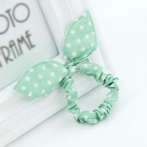 Bunny ear hair ties, dotted hair accessories, woman's hair ties, kids hair ties, children accessories, hair accessories for kids, pink hair ties, blue hair ties, pig tail holders, ponytail holders, bunny hair tie, bunny ears, tutu joli, green hair tie, dots hair tie, 90's hair ties, 80's hair ties, scrunchies, green scrunchies