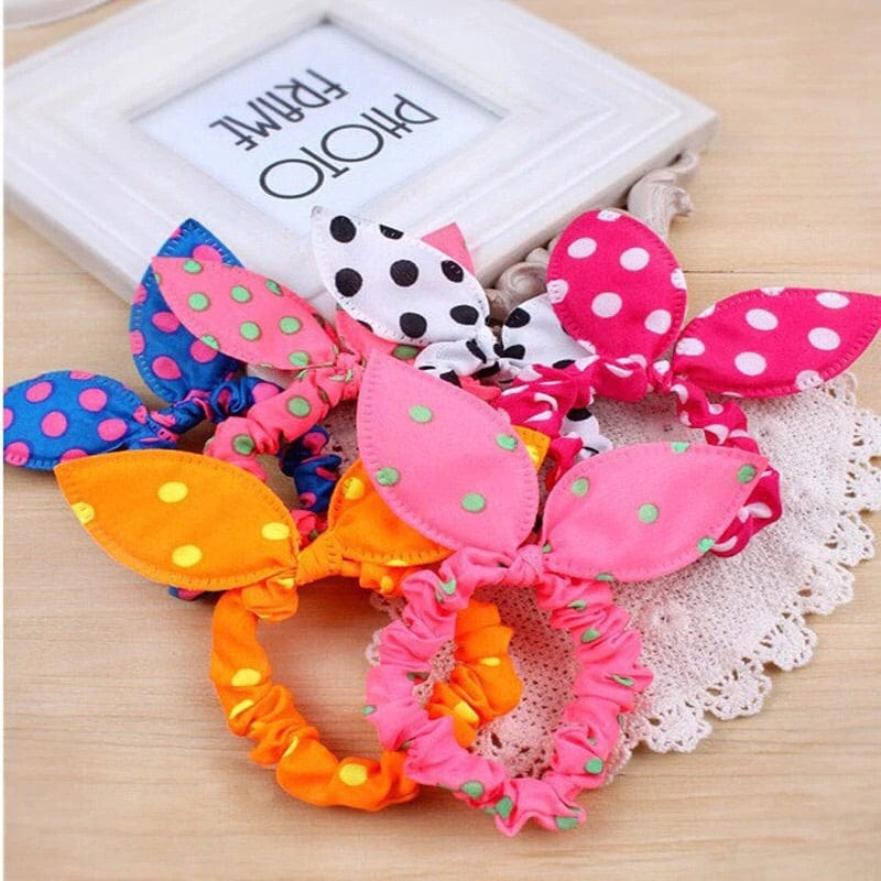 Bunny ear hair ties, dotted hair accessories, woman's hair ties, kids hair ties, children accessories, hair accessories for kids, pink hair ties, blue hair ties, pig tail holders, ponytail holders, bunny hair tie, bunny ears, tutu joli, scrunchie,