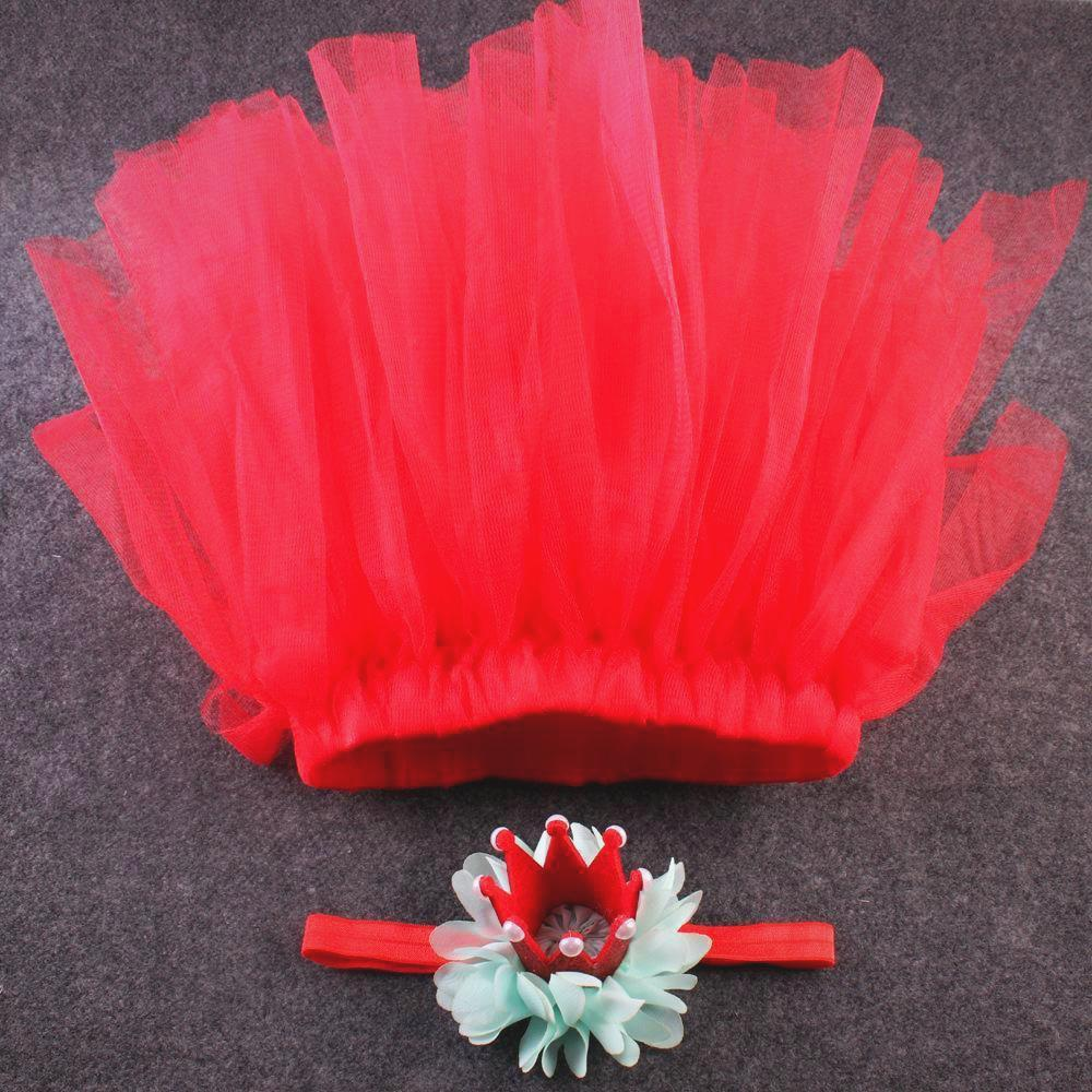 Red tutu with crown headband joli photo props baby