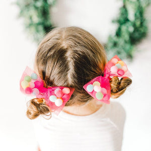 """Christmas Red Bow Pom Pom Hair Ties - 4"""" Hair Bow. Soft Ponytail Holders with Strong Grip"""