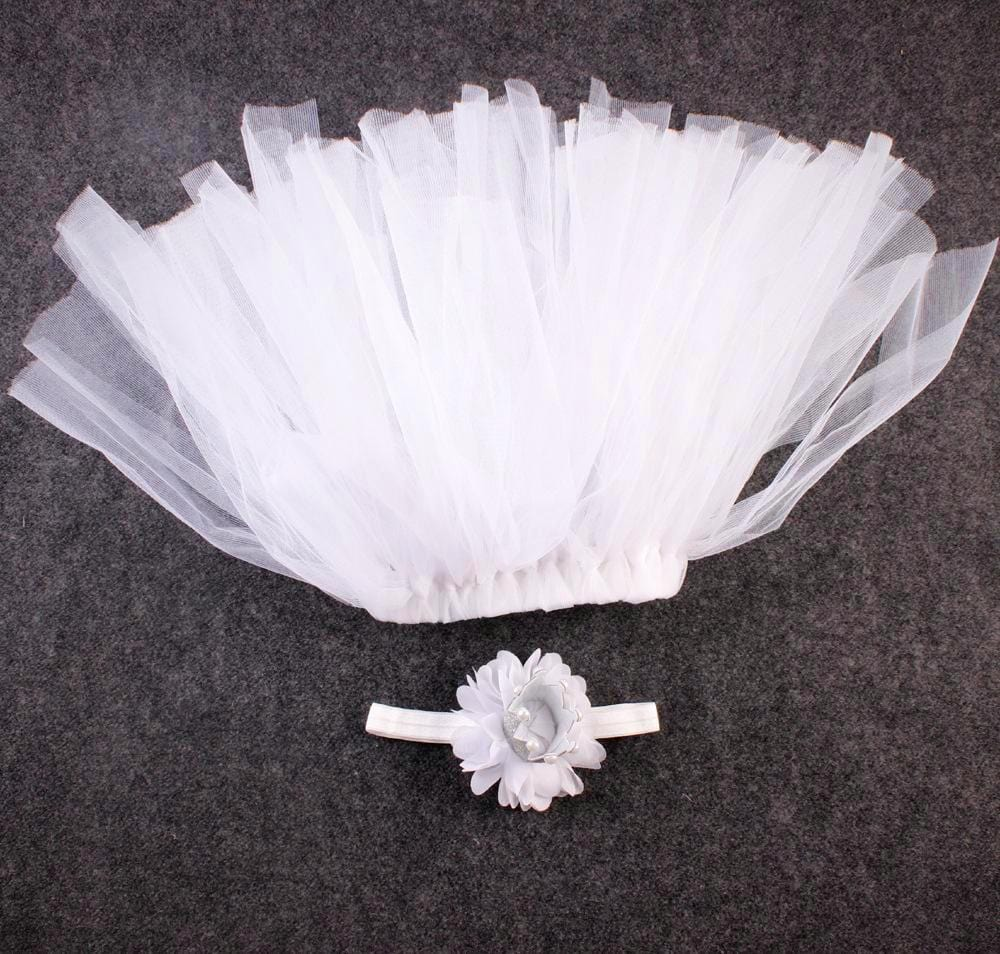 White tutu skirt with crown headband tutu joli baby props photos outfit