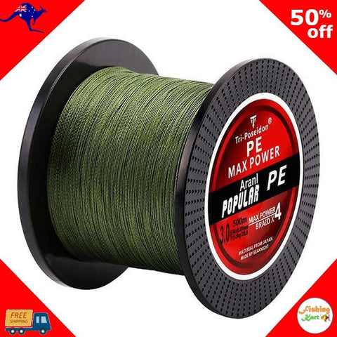FishingKart-Braid-Super Braid Fishing Line Hot 500M-Green-0.4-OzKart
