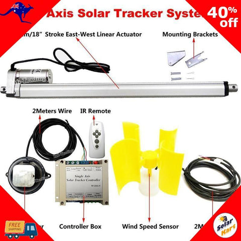 SolarKart-Solar Tracker-Single Axis Tracking Kit + Wind Sensor 12V-OzKart