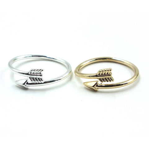 2PCS/1Lot Gold or Silver Color Women Arrow Open Midi Finger Ring Jewelry Shiny Ring Hot Sale