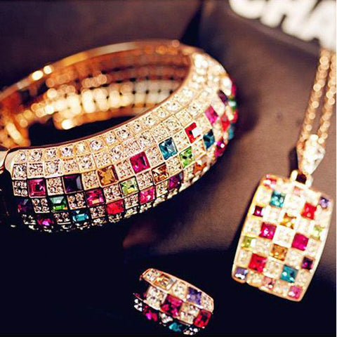 1 pcs Hot Sale Luxury Women Colourful Rhinestone Crystal Finger Dazzling Ring Jewelry Accessories anillos mujer