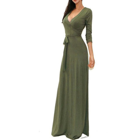 3/4 Sleeve High W Long Dress Pure Color