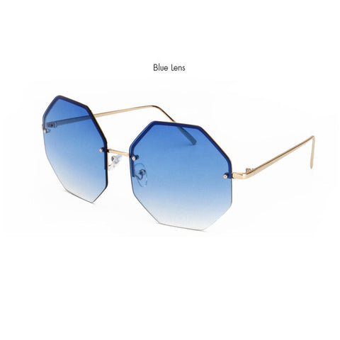 ROYAL GIRL 2017 Stylish Rimless Sunglasses Women Oversize Square Shape Classic Brand Designer Lunettes Transpar Glasses ss919
