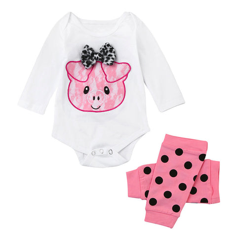 Piggy Bowknot Romper +Leg Warmer Toddler Outfits