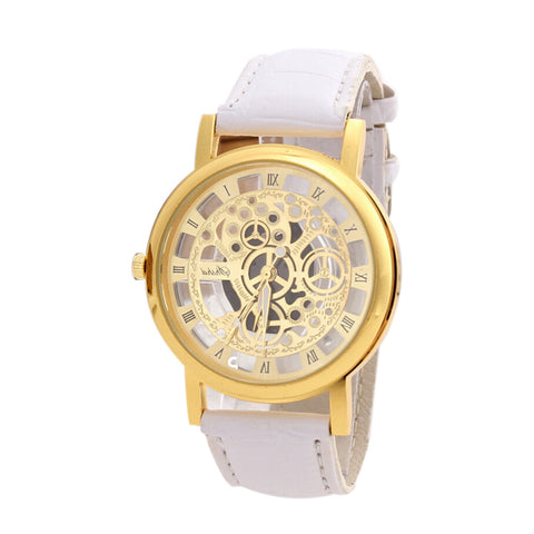 Luxury Stainless Steel Leather Wrist Watch Hollow Design Watch  Quartz Wrist Watch for Men