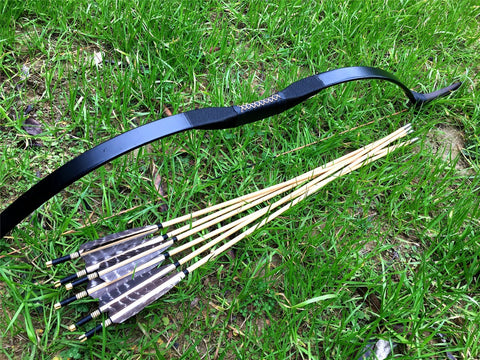 Chinese Recurve bow 20lb to 60lb +6 wooden arrows