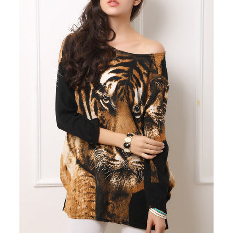 Fashion Autumn Women's Ladies Tiger Pattern O-Neck Long Sleeves Soft Flannel Loose Sexy T-shirt Dress Top One