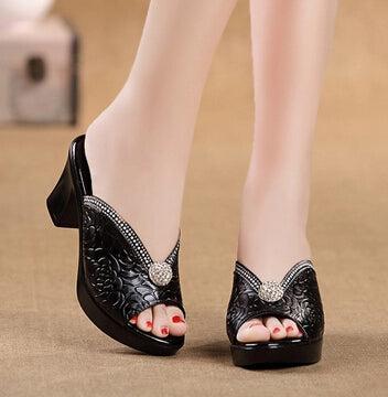 Diamond Sandals Genuine Leather Shoes Peep Toe