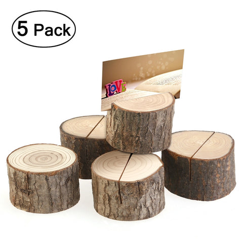 TINKSKY 5pcs Wedding Place Wooden Card Holders Table Number Stands for Home Party Decorations