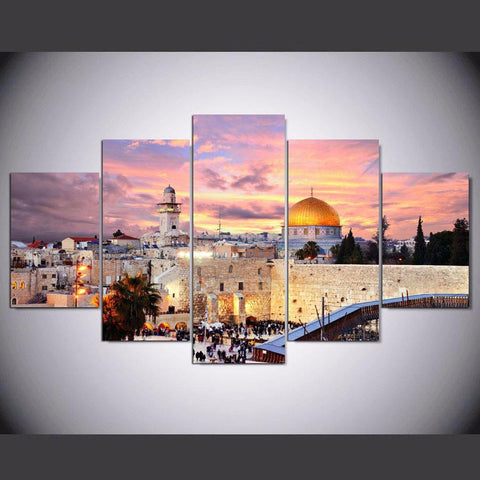 5 Pieces Jerusalem of Palestine Printed Painting