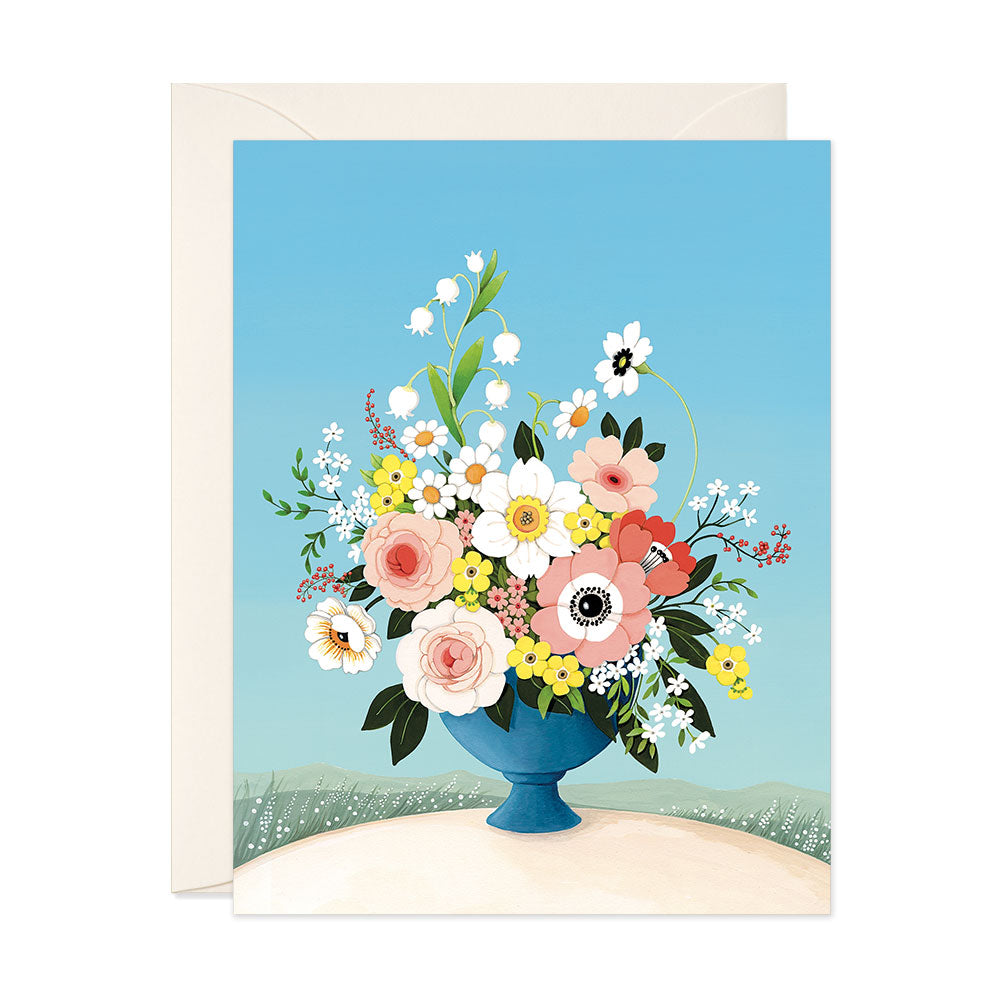 Flower Vase Blue Sky Blank Card