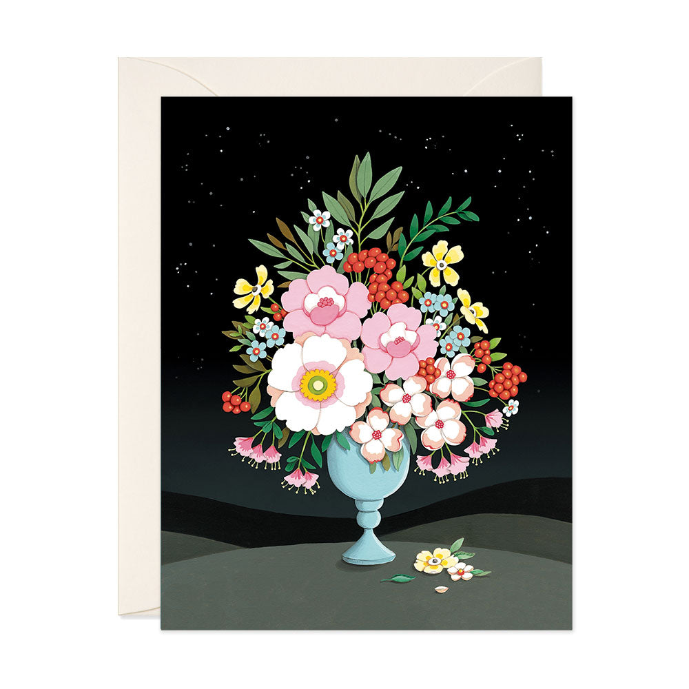 Flower Vase Night Sky Blank Card