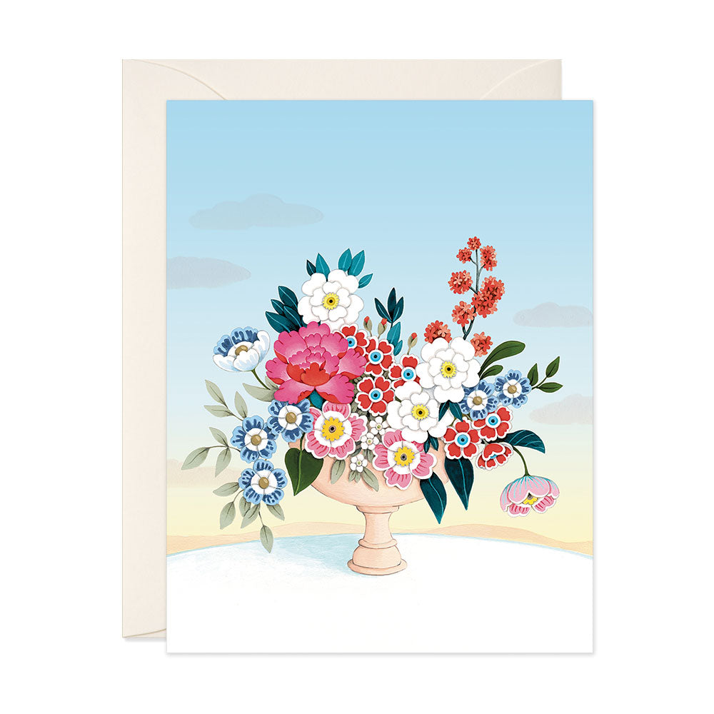 Flower Vase Light Blue Sky Blank Card