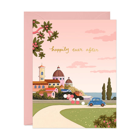 Under Pink Skies Wedding Card