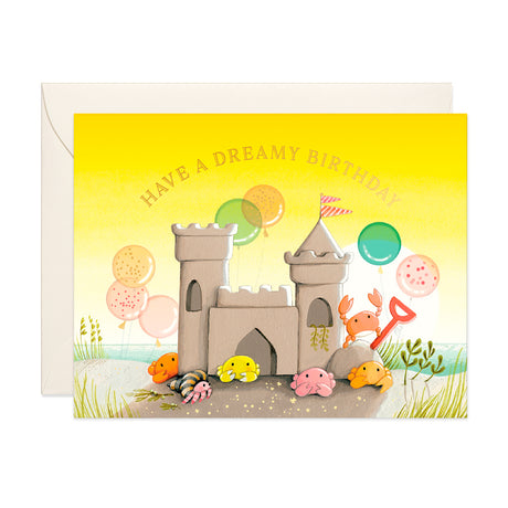 Sand Castle and Crabs Birthday Card