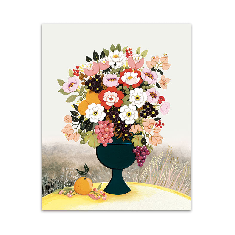 Flower Vase and Grapes Art Print