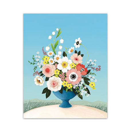Flower Vase Blue Sky Art Print
