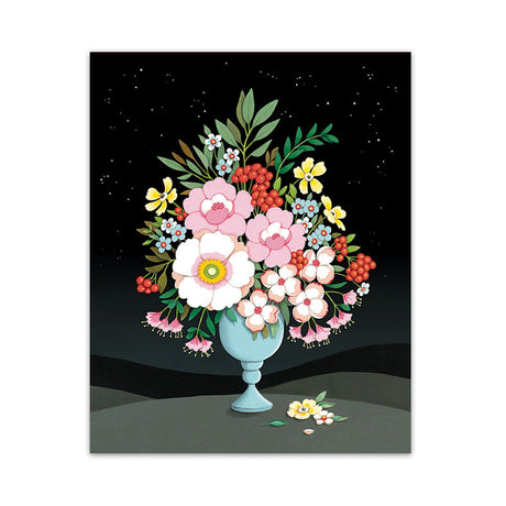 Flower Vase Night Sky Art Print