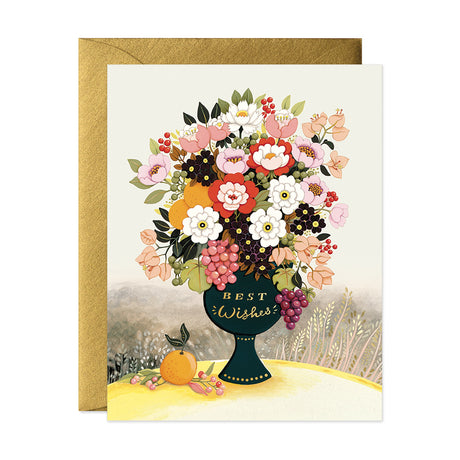 Best Wishes Flower Vase Card