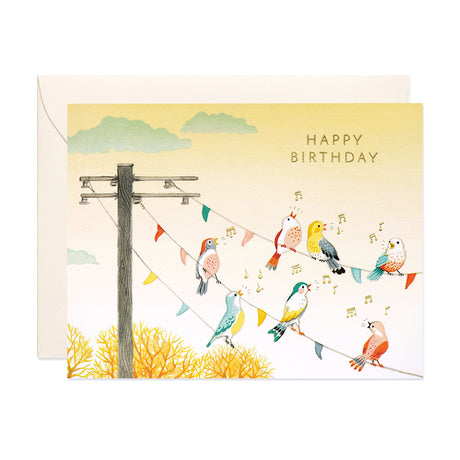 Birds on Wire Birthday Card