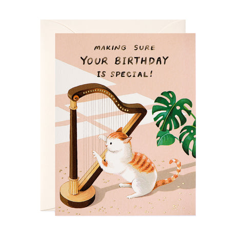 Cat & Harp Birthday Card