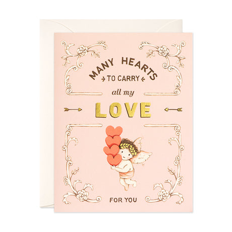 Cupid & Many Hearts Card