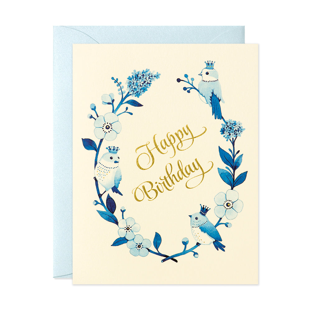Crowned Birds Birthday Card