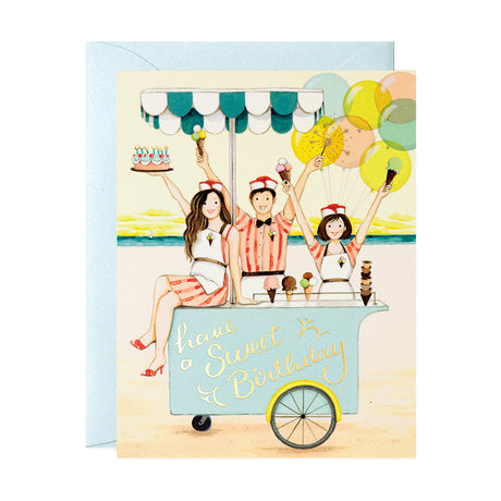 Ice Cream Cart Birthday Card