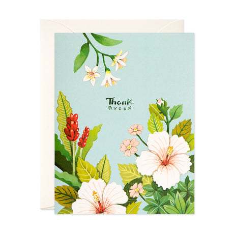 Light Blue Floral Thank You Card