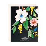Navy Floral Thank You Card