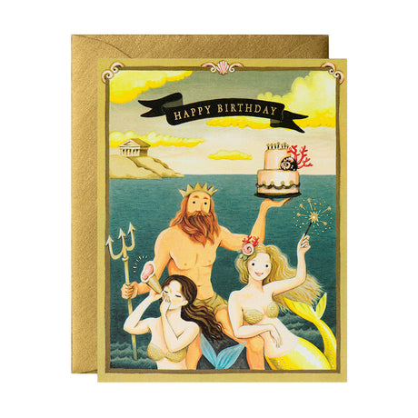 Neptune and Mermaids Birthday Card