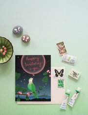 Green Parrot Birthday Card