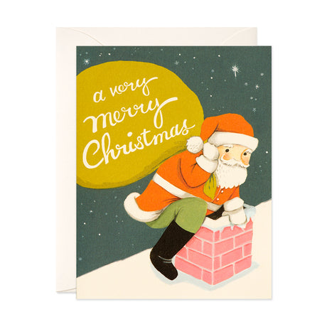 Santa On Rooftop Card