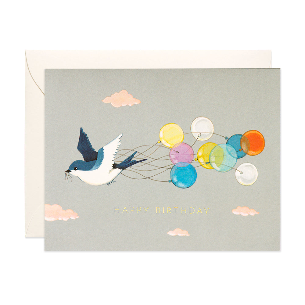Swallow & Balloons Birthday Card