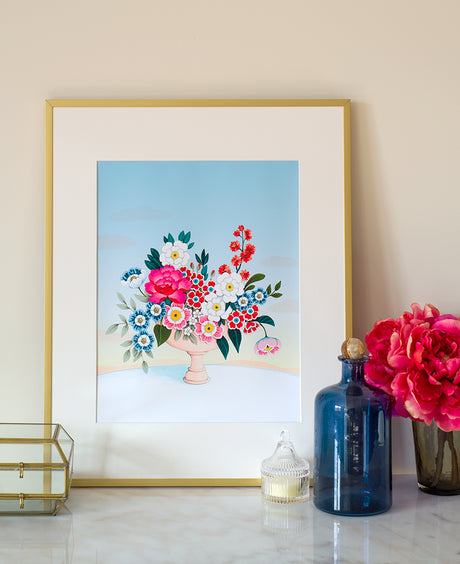 Flower Vase Light Blue Sky Art Print