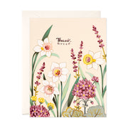 Cream Floral Thank You Card
